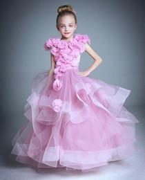 Kleine mädchen fee kleider online-Flower Fairy Girls Pageant Dresses Schöne Organza Rüschen Blumenmädchenkleider Schöne Mädchen Party Kleid Kinder Geburtstagskleid