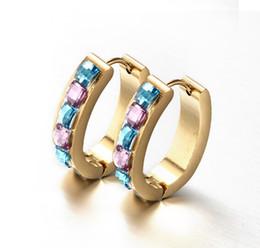 Wholesale Wonderful Earrings - Wonderful Christmas Gift New Design Stainless Steel Gold Women Hoop Earring Studs Blue & Purple Multi-Color Crystals Rhinestone