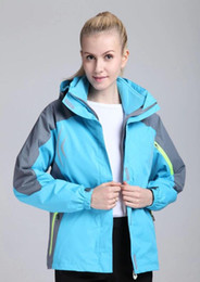 Wholesale Winter Jackets Wind Woman - Ski-wear Women outdoor clothing Fashion brand two-piece outfit Winter waterproof jackets Mountaineering clothing with reflect light 2017
