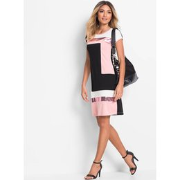 Wholesale wholesales dresses prom night - Wholesale- Ruiyige 2017 Women Daily Shift Dress Summer O Neck Pacthwork Vestidos Sheath Contrast Sequined Midi Robes Prom Work Dress Falda