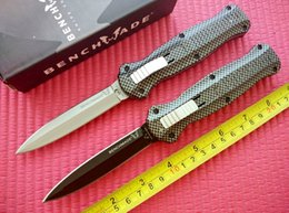 Wholesale Plain Carbon Fiber - 2016 Benchmade 3300 3300BK Infidel Knife Double Action Out the front Plain D2 steel Dagger Plain carbon fiber handle Tactical knife knives