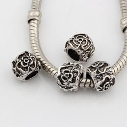 Wholesale Large Rose Flower - Hot ! 100pcs Antique Silver Alloy Rose flower Large Hole Bead Fit European Beads Bracelet DIY Jewelry 7x8mm