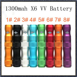 Wholesale Color Ego Ce5 Clearomizer - X6 VV Battery for Electronic Cigarette Various Color Battery 1300mAh Voltage Variable Batterysuit for ego series clearomizer CE4 CE5 CE6