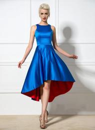 Wholesale Dress Sleeveless Asymmetric - Cheap A Line Hi Lo Cocktail Dresses 2015 Crew Neck Asymmetric Formal Party Dresses Custom Made Sexy Short Evening Gowns