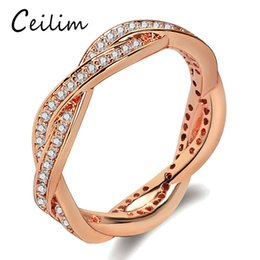 Wholesale Wholesale Stackable Rings - Newest Luxury Rose Gold Color AAA Clear CZ zircon Ring Braided Twist Stackable Ring for Women Female Party Promise Wedding Jewelry Gift