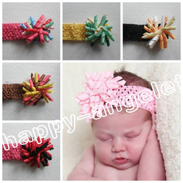 Wholesale Hairband Crochet Ribbon - free shipping Girl flower hair bows 50pcs Crochet headband 3inch korker hair clip hair bow hairband curly grosgrain ribbon corker bow PD011