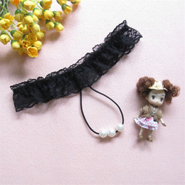 Wholesale Black Doll Thong - Brand New HotSale Sexy Pink Women Sexy Erotic Lingerie Baby Dolls G string G-String Thong Underwear Pearl Lace Panties T Back Ladies Girl XD