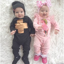 Wholesale Gold Mould - INS Baby Romper GOLD Cross boys boys Jumpsuit one-pice rompers boy modelling jumpers moulding long sleeve cool