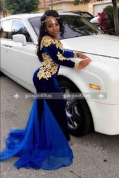 afrikanische spitze samt Rabatt 2019 Sexy African Black Girl Abendkleider Abendkleider Party Wear Velvet Party Dress Gold Lace bodenlangen Mermaid