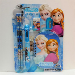 Wholesale Princess Erasers - Frozen Ice princess stationery 6pcs set (1 book+2 pencils+1 six colors ballpoint pens+1 eraser+1 sharpener ) hot sale for students W13