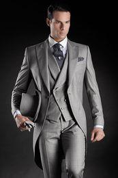Wholesale Custom Made Groom Tuxedos Groomsmen - Custom Made Groom Tuxedos Groomsmen Morning Style 14 Style Best man Peak Lapel Groomsman Men's Wedding Suits (Jacket+Pants+Tie+Vest)J711