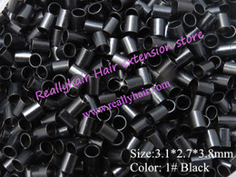 Wholesale Copper Links For Hair Extensions - 3.1*2.7*3.8mm 1#Black 1000pcs lot copper flared ring easily locks copper tube micro link ring  bead for i tip hair extension