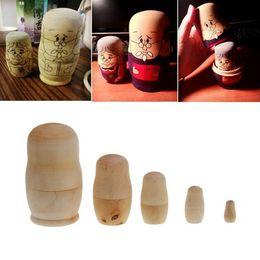 Wholesale Russian Wooden Dolls Set - 5pcs set Unpainted DIY Blank Wooden Russian Nesting Dolls Matryoshka Gift Hand Paint Toys Home Decoration Gifts CCA8069 120set
