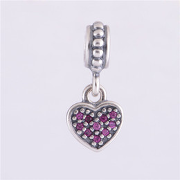 Wholesale Hanging Charms Pandora - RED PAVÉ HANGING HEART DANGLE CHARM DIY Beads Solid 925 Sterling Silver Not Plated Fits Original Pandora Bracelets & Bangles & Necklaces
