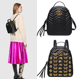 Wholesale Bow Canvas Backpack - C-G Marmont Animal Modeling Rivets Leather Quilted Backpack