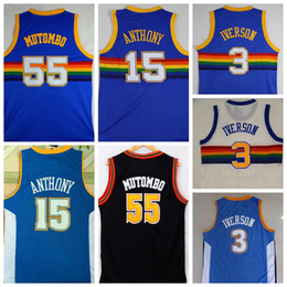 9f0e85c96 Volver a lanzar 55 Dikembe Mutombo Jersey 3 Allen Iverson Basketball Jersey  15 Carmelo Anthony Blue College Retro coser baloncesto Camisetas carmelo  anthony ...