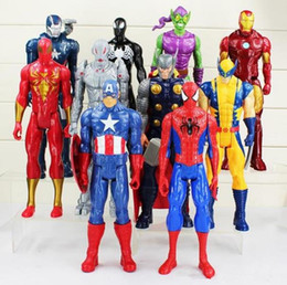 Wholesale Spiders Toys - Hot sale Heros 30cm Wolverine Captain America Ironman Spider-Man The First Avenger PVC Action Figure 10styles can choose fast shippin