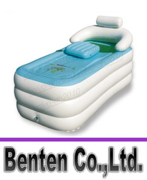 Wholesale Bathtub Tub - Free ShippingWholesale&Retail Adult Spa folding Portable bathtub inflatable bath tub with cushion + Foot air pump Gift Warm winter LLFA2115F