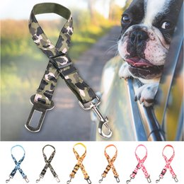 Wholesale Puppy Stockings - DHL Free Pet Car Safety Seat Belt Adjustable Dog Puppy Security Seatbelt Leashes Camouflage & Leopard Print in Stock