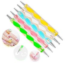 Wholesale Dotting Tools Nails - 5x 2 ways Steel Dotting Marbleizing Pen Nail Art Decoration Manicure Tool Dropshipping