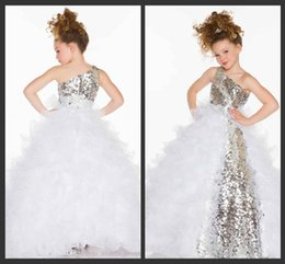 Wholesale Kids Ball Gowns One Shoulder - 2015 new arrival Flower Girls' Dresses One Shoulder Floor Length princess dresses For Wedding Pageant Dresses Girls Kids Party Prom Gowns