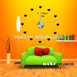 Wholesale Wedding Gifts Wall Clocks - Original brand Large love Heart EVA Sticker Metal Wall Clock Wedding Party Decoration Holiday Gifts For Wholesale living room
