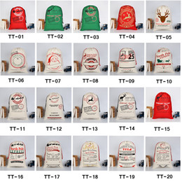 Wholesale Wholesale Drawstring Bags Cotton - 2017 Christmas Gift Bags Large Organic Heavy Canvas Bag Santa Sack Drawstring Bag With Reindeers Santa Claus Sack Bags for kids
