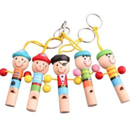 Wholesale Wholesale Mini Wooden Instruments - Pirate style Children's Toys wooden cartoon mini whistle wind instruments Brand New Good Quality