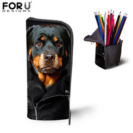 Wholesale Cute Animal Pencil Cases - Multifunction Children School Pencil Bags Girls Makeup Cosmetic Cases Cute Rottweiler Dog Pen Box Pouch Holders Office Supplies