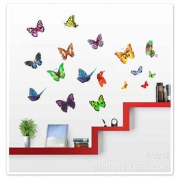 Wholesale Generations Designs - 10pcs Wholesale Trumpet Stickers three generations wall stickers cartoon nursery PVC green glass paste colorful butterfly XY3008