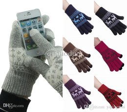 Wholesale Touch Gloves Deer - New Winter 6 Color Pick Deer Print Man Woman Knitted Screen Touch Gloves For Capasitive Device Tablet Iphone Free Shipping DLU