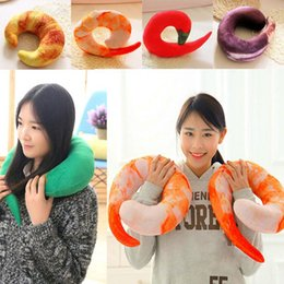 Wholesale Shrimp Toys - Simulation Shrimp Chili U-shaped Neck Pillow Eggplant Plush Doll Cushion Neckpillow Travel Cushion Kids Stuffed Animals Toys 30pcs OOA3377