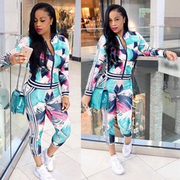 Wholesale Long Sleeved Jumpsuits - Women's Long Sleeved Fashion Two-Piece Flower Floral Print Bodycon Sweatsuit Set Ladies Tracksuit Outfit Jumpsuit Rompers For Woman