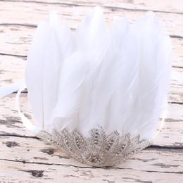 Wholesale Diamante Crowns - 1pc Boutique White Feathered bordado Sequins diamante crown Bow Applique Headband Perfect Newborn mom Photo Prop YM6114