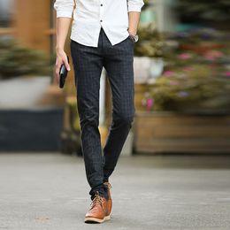 Wholesale Business Casual Hombre - Wholesale-New Casual Men Pants Stretch Skim Business Mens Joggers Pants Fashion Plaid Pantalones Hombre Trousers Cotton Pants Outdoor