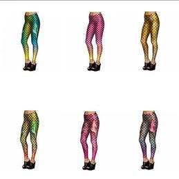 Wholesale Shiny Pants Women Tight - Mermaid Fish Scales Leggings Women Mermaid Slim Tights Jeggings Tail Fins Shiny Fitness Pencil Pants 6 Styles 20pcs OOA3390