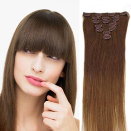 Wholesale Brown Real Human Hair Extensions - Wholesale - 140g pc 8pc set #6 light brown 100% human hair Peruvian hair clips in extensions real straight full head high quality