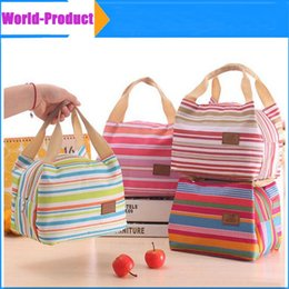 Wholesale Insulate Lunch Bags - Lunch Totes Bag Thermal Insulated Portable Cool Canvas Stripe Carry Case Picnic high quality 010232