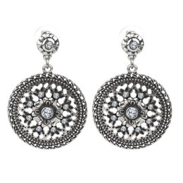 Wholesale Exotic Earrings - 2016 New Fashion Wholesale Exotic Round Drop Vintage Hollow Out Dangle earrings Antique Silver fashion Jewelry Bjouterie