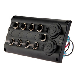 Wholesale Push Button Toggle - Marine Boat 4 Gang LED Toggle Switch Panel Waterproof With Breaker Socket New