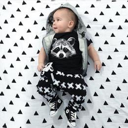 Wholesale Bebe T Shirts - New Summer Baby Girls Boys Clothes 2 pcs Short Sleeve T-Shirts Tops + Pants Set Attire Costumes Fox Printing 2017 Bebe Kids Clothing Set