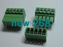 Wholesale Terminal Connectors Screw Type - 150 pcs Screw Terminal Block Connector 3.5mm Angle 5 pin Green Pluggable Type