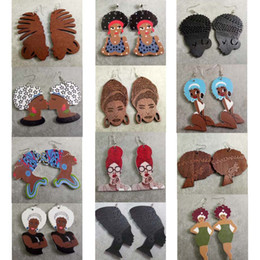 Wholesale Hair African American Women - Beautiful Mixed Styles African Women Hair Updo AFRO Wooden Lady Girls Earrings Wholesale