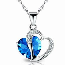 Wholesale Cheap Heart Necklaces Women - Romantic Multicolor Crystal Love Heart Pendants Cheap Necklaces For Women Girl Jewelry Wholesale