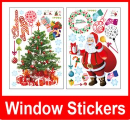 Wholesale Christmas Tree For Wall - Christmas Decoration Large Window Wall Sticker for Home Decoration Vinilos Decorativos Snowing Christmas Tree Free shipping