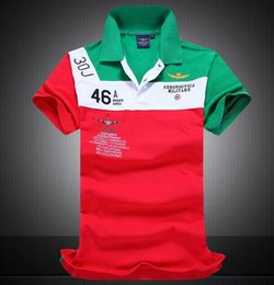 Chemises de l'armée en Ligne-2016 nouveaux hommes armée de l'air armée broderie Polos Chemises patchwork golf hommes Tees Polos Cheval Polo T-shirts pour homme