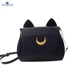 Wholesale Harajuku Messenger Bags - Japanese Harajuku Style Fashion Women Messenger Bags Lady Sailor Moon Bag Women Cat Handbag Luna Moon Women Cross Body Bag Lady
