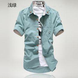 Wholesale Mens White Dress Shirt Buttons - Wholesale-2016 new gradient men denim shirts short sleeve camisa chambray mens dress shirt collar button up men denim shirts chemise