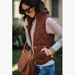 Wholesale Womens Vest Brown - Lucia's clothes Womens Classic Toggle Padded Puffer Vest Autumn Winter Coats Vest Ladies Slim Sleeveless Outerwear Tops KH818550