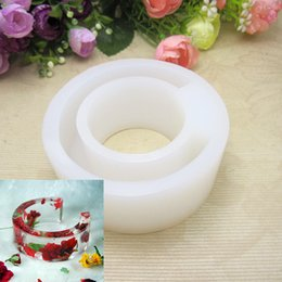 Wholesale Epoxy Bangle - Wholesale-60x30x10mm Translucence Silicone Round C-type Bracelet Mould For Epoxy Resin Real Flower DIY Mold Open Design Bangle Mould QM013